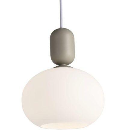 szklana lampa wisząca z szarym zawieszeniem