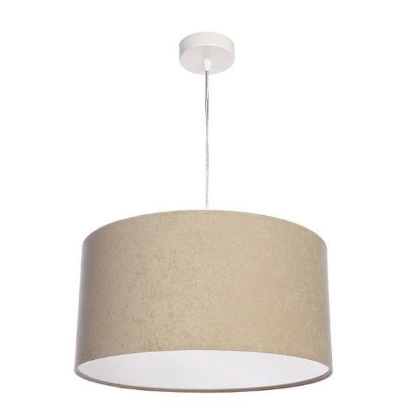 beżowa lampa wisząca welurowa