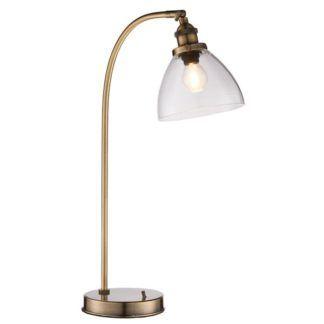 Złota lampa stołowa Hansen - szklany klosz