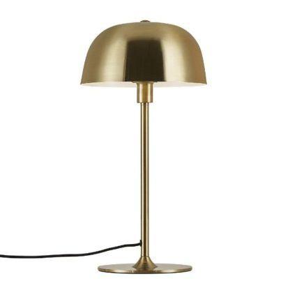 złota lampa stołowa duży klosz
