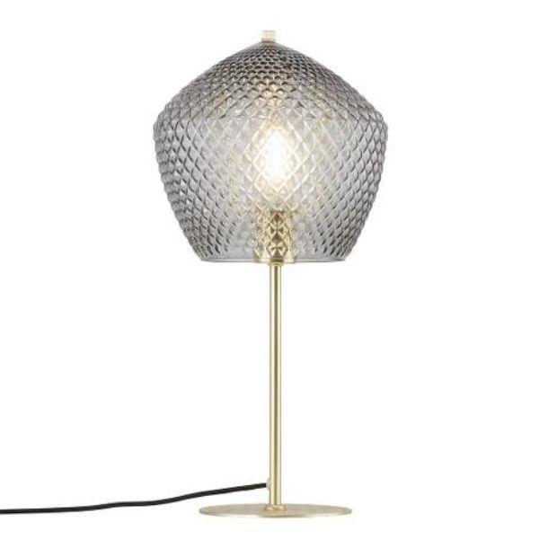 szklana lampa stołowa na złotej nóżce