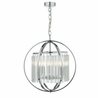 Srebrna lampa wisząca Abdul - chrom, szkło
