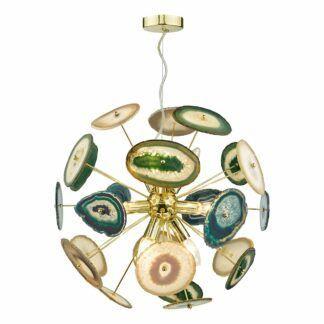 Złoty elegancki żyrandol Achates - 9 żarówek - agat