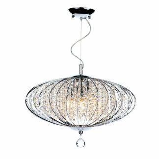 Srebrna lampa wisząca Adriatic - kryształki