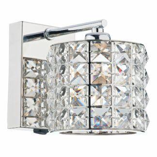 Srebrny kinkiet Agneta - glamour,  kryształki