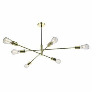 Złota lampa wisząca Alana - regulowana, połysk