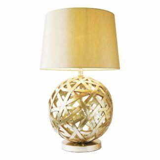 Lampa stołowa Balthazar - złota podstawa, abażur