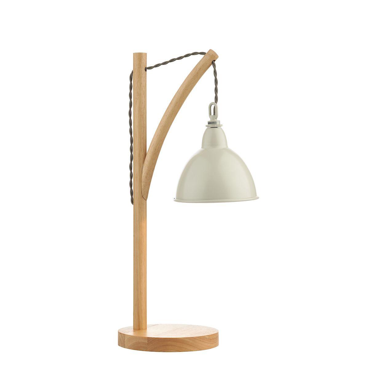 drewniana lampa biurkowa