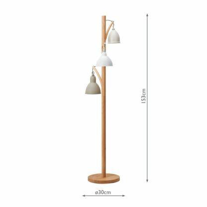 drewniana lampa podłogowa vintage