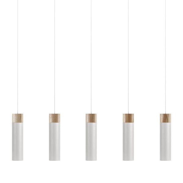 lampa nad stół biel i drewno