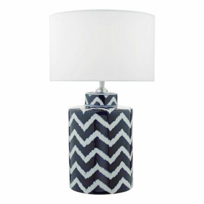 lampa stołowa biało-niebieski wzór