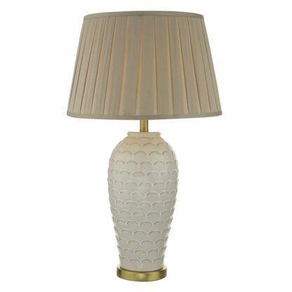 ceramiczna kremowa lampa stołowa
