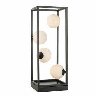 Lampa stołowa Ensio - szklane klosze, czarny mat