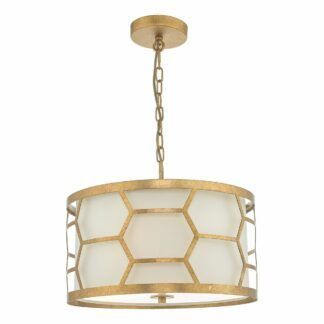 Lampa wisząca Epstein - beżowy abażur, złoty wzór