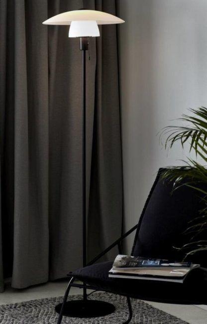 Elegancka lampa podłogowa do salonu aranżacja