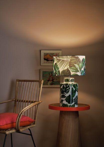 lampa nocna w zielone liście