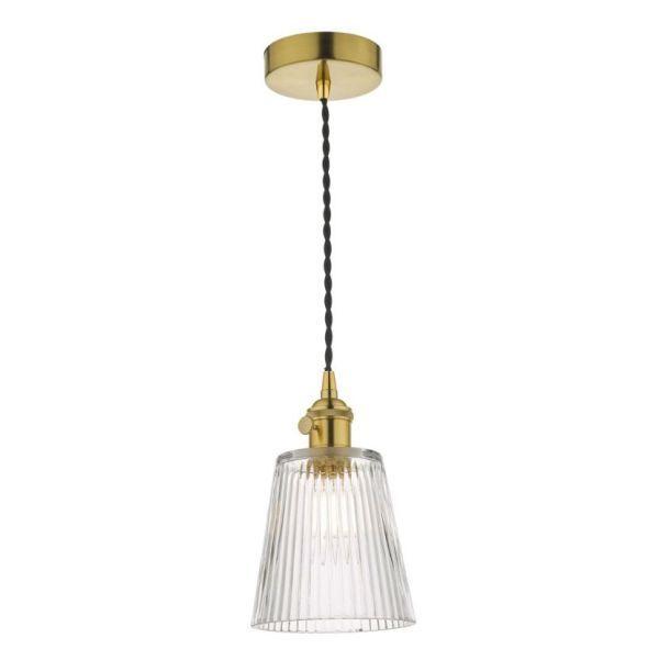 Lampa wisząca Hadano - mosiądz, szklany klosz