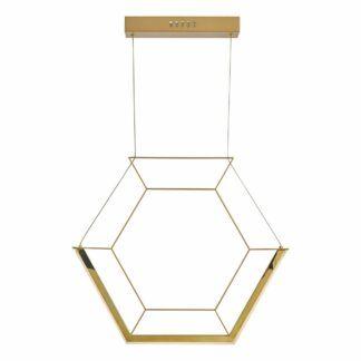 Nowoczesna lampa wisząca Hexagon - złota, LED