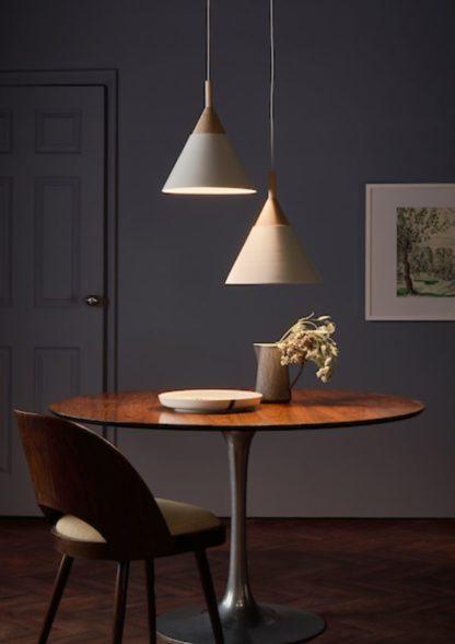 stożkowe lampy nad stół