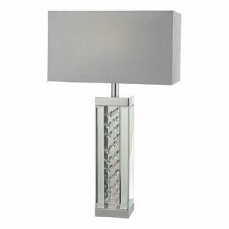 Srebrna lampa stołowa Itala - szary abażur, kryształki
