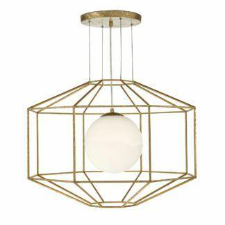 Lampa wisząca Izmir - stare złoto, szklany klosz
