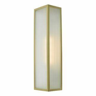 Złoty kinkiet Keegan - szklany, IP44