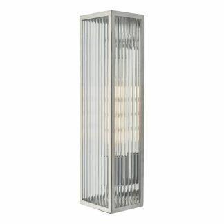 Srebrny kinkiet Keegan - szklany klosz, IP44