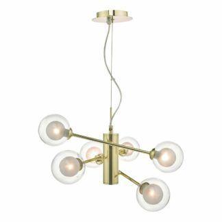 Złota lampa wisząca Kumara - szklane klosze