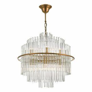 Lampa wisząca Lukas - antyczne złoto, szkło
