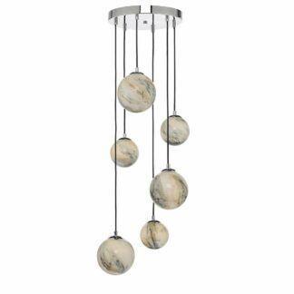 Lampa wisząca Mikara - szklane klosze, efekt marmuru