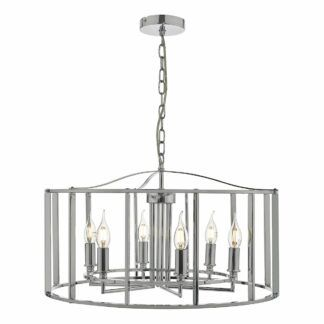Srebrna lampa wisząca Myka - świecznikowe oprawki