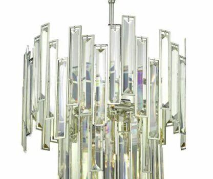 Efektowny żyrandol Odile - srebrny, z kryształkami
