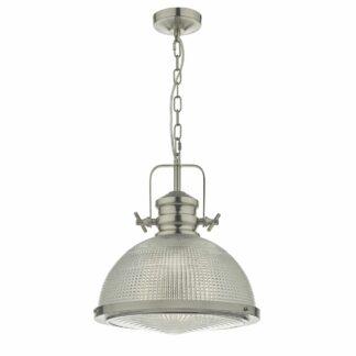 Srebrna lampa wisząca Peyton - szklany klosz