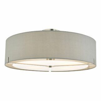 Srebrny plafon Santino - szary abażur
