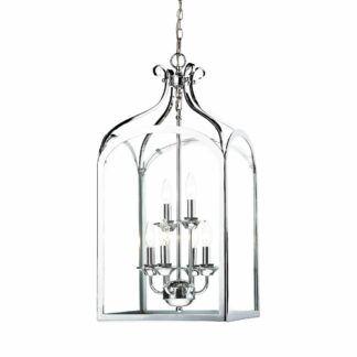 Srebrna lampa wisząca Senator - szklany klosz