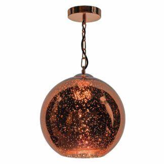 Lampa wisząca Speckle - miedziana kula, szkło