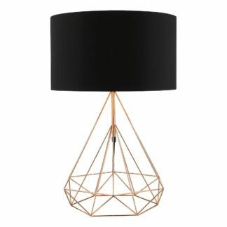 Miedziana lampa stołowa Sword - czarny abażur