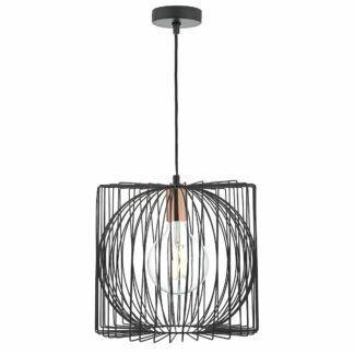 Druciana lampa wisząca Taplow - czerń, miedź
