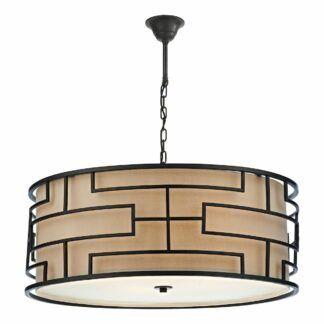 Klasyczna lampa wisząca Tumola - brązowe okucia