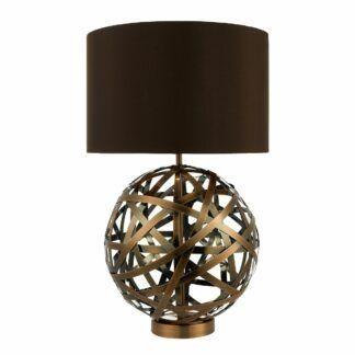Lampa stołowa Voyage - ażurowa, brązowy abażur