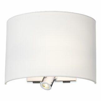 Srebrny kinkiet Wetzlar - biały abażur, reflektor LED