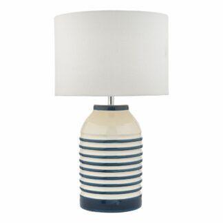 Lampa stołowa Zabe - ceramiczna, jasny abażur
