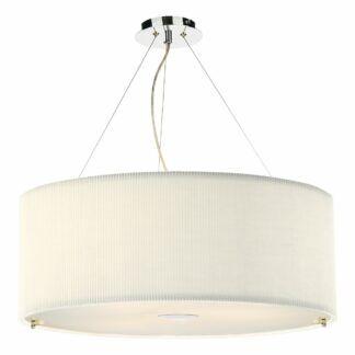 Kremowa lampa wisząca Zaragoza - plisowany abażur, 90cm