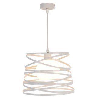 Ażurowa lampa wisząca Akita - biały klosz, szklana kula