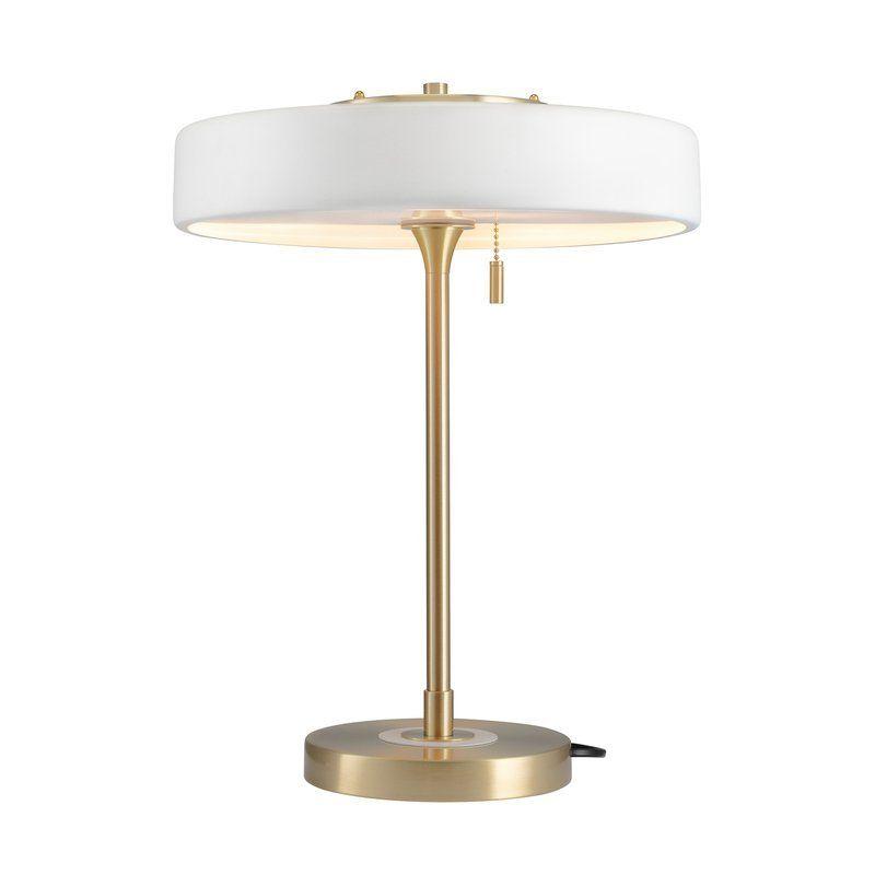 elegancka lampa biurkowa biel i złoto
