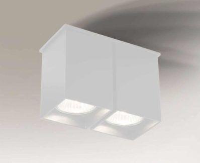 Podwójna lampa sufitowa kwadratowa Toda - biała