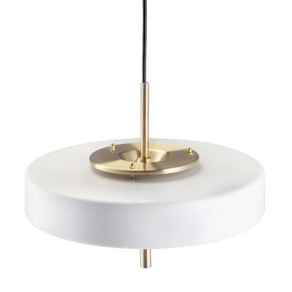 biała lampa wisząca nad stół talerz