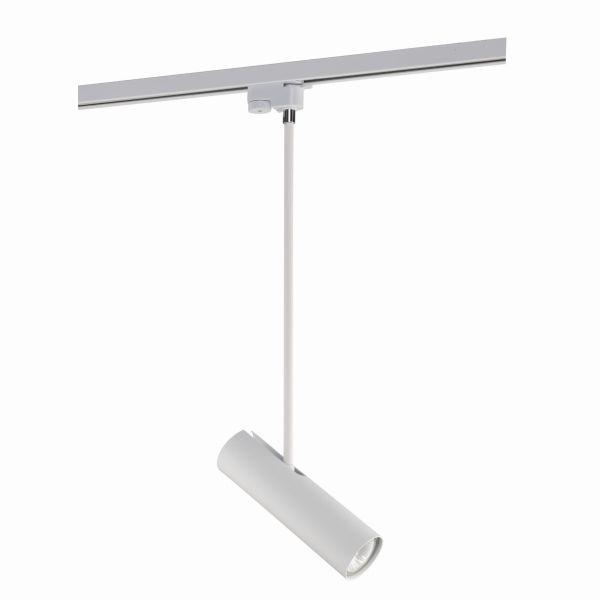 biała lampa wisząca szynowa