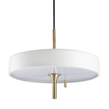 biała lampa wisząca złote elementy