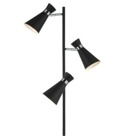 czarna lampa podłogowa 3 klosze